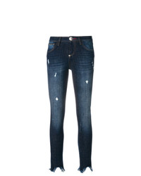 Philipp Plein Distressed Raw Edge Tassel Hem Jeans
