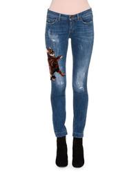 Dolce & Gabbana Kitten Appliqu Distressed Skinny Jeans Indigo