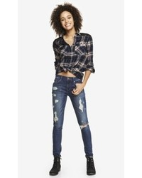 Express Dark Mid Rise Distressed Jean Legging