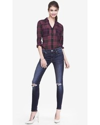 Express Dark Mid Rise Distressed Knee Jean Legging