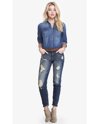 Express High Waisted Destroyed Boyfriend Jean