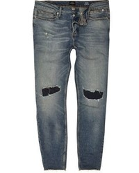 River Island Faded Blue Wash Ripped Sid Skinny Jeans