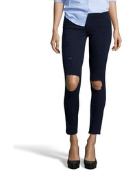 Frame Denim Navy Blue Stretch Le Skinny De Jeanne Ripped Jeans