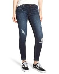 1822 Denim Frayed Double Hem Skinny Jeans