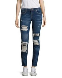 True Religion Halle Distressed Super Skinny Jeansindigo Cadence