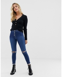 Parisian High Waisted Jeggings With Ripped Knee