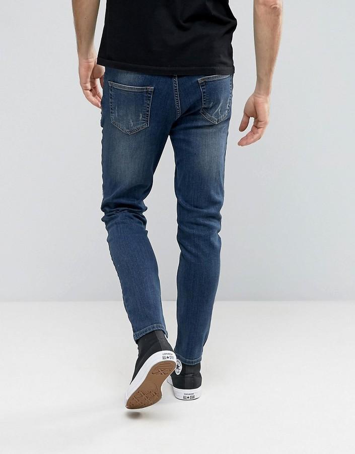 22533012cca Hoxton Denim Jeans Rip And Repair Paint Splatter Skinny Jean, $45 | Asos |  Lookastic.com