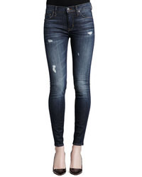 Hudson Nico Distressed Mid Rise Skinny Jeans
