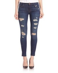 J Brand Distressed Low Rise Cropped Skinny Jeans