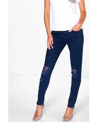 Boohoo Jane Mid Rise Busted Knee Skinny Jeans