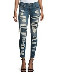 Rag & Bone Jean Dre Distressed Repaired Mid Rise Skinny Jeans Ada Brigade