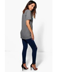 Boohoo Katie 5 Pocket High Rise Knee Rip Jeggings