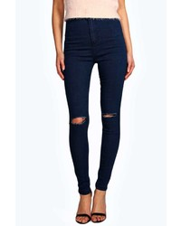 Boohoo Lara Ripped Knee Super Skinny Tube Jeans