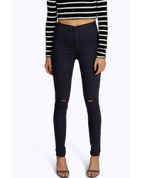 Boohoo Laura Ripped Knee High Waist Skinny Jeans