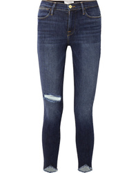 Frame Le High Skinny Sweetheart Distressed High Rise Jeans