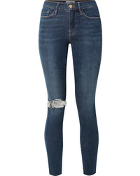 Frame Le Skinny De Jeanne Distressed Mid Rise Jeans