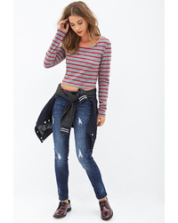 Forever 21 Low Rise Distressed Skinny Jeans