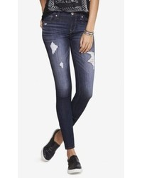 Express Mid Rise Dark Wash Distressed Stretch Jean Legging