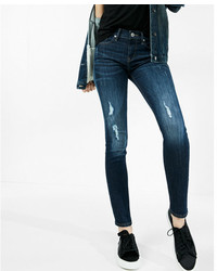 Express Mid Rise Distressed Stretch Super Skinny Jeans