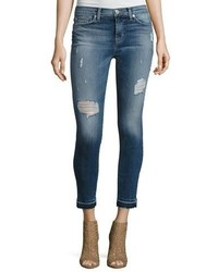 Hudson Nico Mid Rise Distressed Skinny Ankle Jeans With Released Hem Indigo