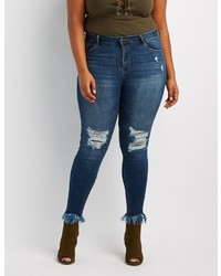 Charlotte Russe Plus Size Cello Frayed Hem Destroyed Skinny Jeans