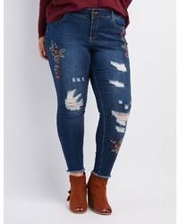 Charlotte Russe Plus Size Embroidered Destroyed Skinny Jeans