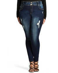 City Chic Plus Size Ripped Skinny Jeans