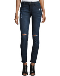 DL1961 Premium Denim Skinny Distressed Denim Jeans Dark Bluevortex