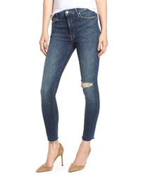 MOTHE R The Looker High Waist Frayed Ankle Skinny Jeans