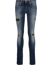R 13 R13 Distressed Low Rise Skinny Jeans
