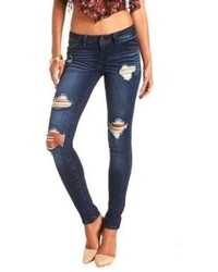 Charlotte Russe Refuge Boyfriend Dark Wash Destroyed Jeans