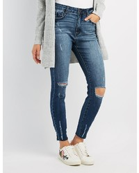Charlotte Russe Refuge Destroyed Crop Skinny Jeans