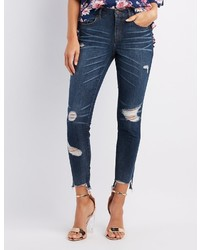 Charlotte Russe Refuge Destroyed Step Hem Skinny Jeans