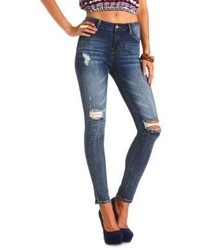 Charlotte Russe Refuge Hi Rise Skinny Destroyed Dark Wash Jeans