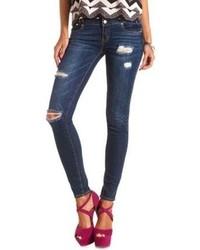 Charlotte Russe Refuge Mid Rise Skinny Dark Wash Jeans