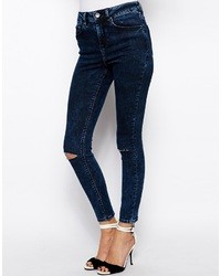 Asos Ridley High Waist Ultra Skinny Ankle Grazer Jeans In Dark Acid Wash Blue With Ripped Knees