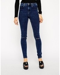 Asos Ridley High Waist Ultra Skinny Jeans In Midnight Dark Acid Wash With Ripped Knees