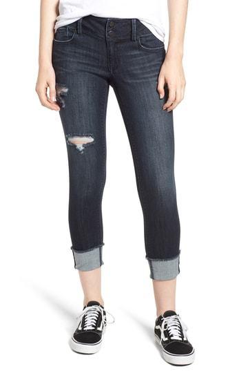 1822 Denim Ripped Roll Cuff Skinny Jeans