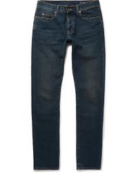 Saint Laurent Slim Fit 17cm Hem Distressed Stretch Denim Jeans