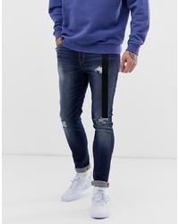 ASOS DESIGN Super Skinny Distressed Jeans In Dark Wash Blue