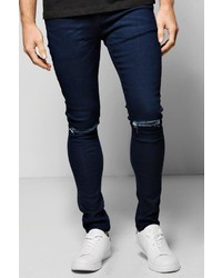 Boohoo Super Skinny Stretch Jeans With Ripped Knees