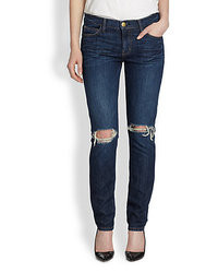 Current/Elliott The Ankle Distressed Skinny Jeans