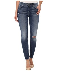 7 For All Mankind The Ankle Skinny With Navy Squiggle Destroy In Lake Blue