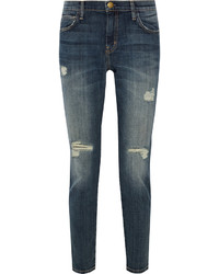 Current/Elliott The Slouchy Stiletto Distressed Mid Rise Skinny Jeans