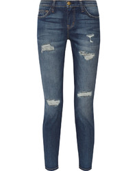Current/Elliott The Stiletto Distressed Mid Rise Skinny Jeans
