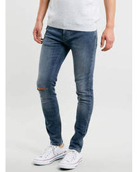 Topman Mid Wash Ripped Stretch Skinny Jeans