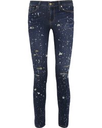 Paige Verdugo Distressed Mid Rise Skinny Jeans