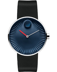 Movado 40mm Edge Watch With Rubber Strap Navy