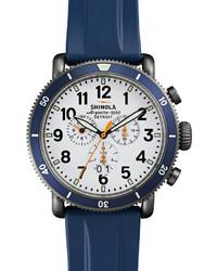 Shinola 48mm Runwell Sport Chronograph Watch With Rubber Strap Navy