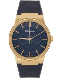 Salvatore Ferragamo Navy Check Sapphire Watch
